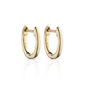 9ct Gold Plain Huggie Hoop Earrings 11mm