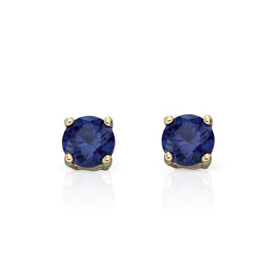 9ct Gold Sapphire Stud Earrings 4mm