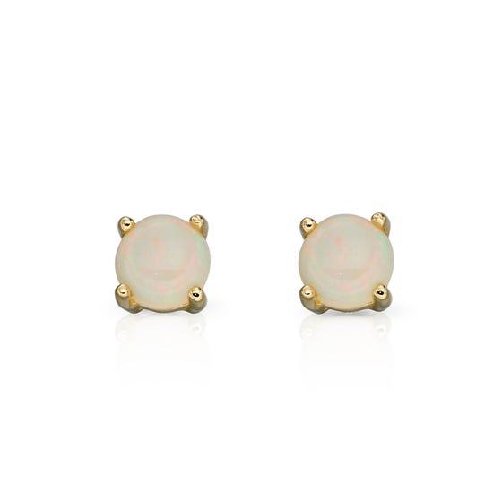 9ct Gold Opal Stud Earrings 4mm