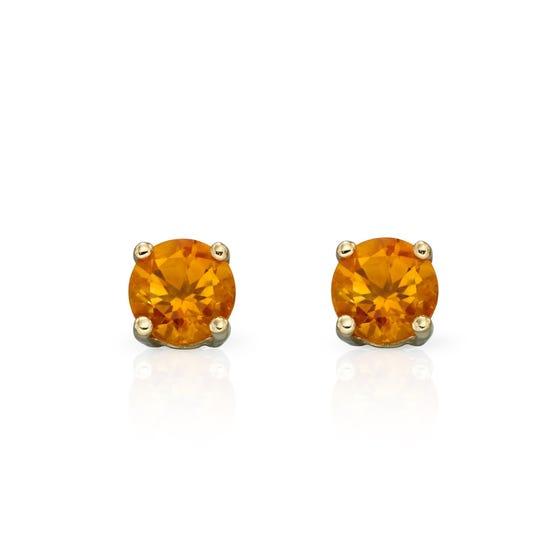 9ct Gold Citrine Stud Earrings 4mm