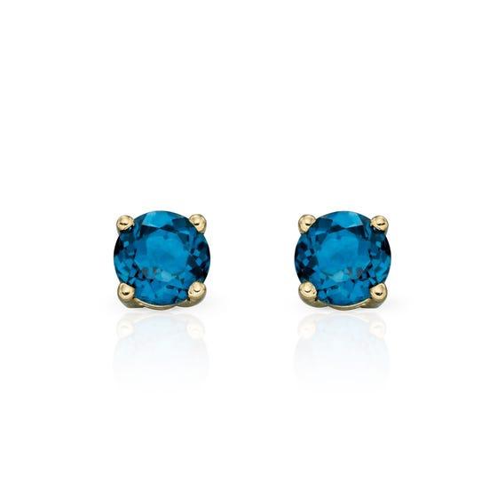 9ct Gold London Blue Topaz Stud Earrings 4mm