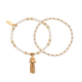Gold Plated & Pearl Love & Protection Bracelet Set