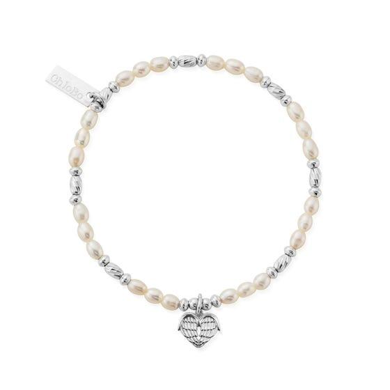 Silver & Pearl Heart Of Love Bracelet