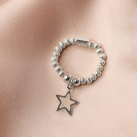 Silver Open Star Ring