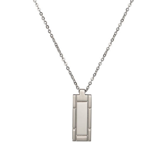 Stainless Steel Matte & Polished Pendant Necklace