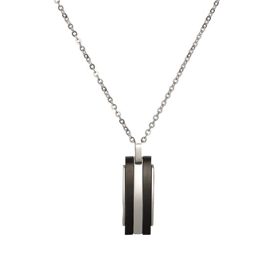 Stainless Steel Striped Necklace with Black Plating