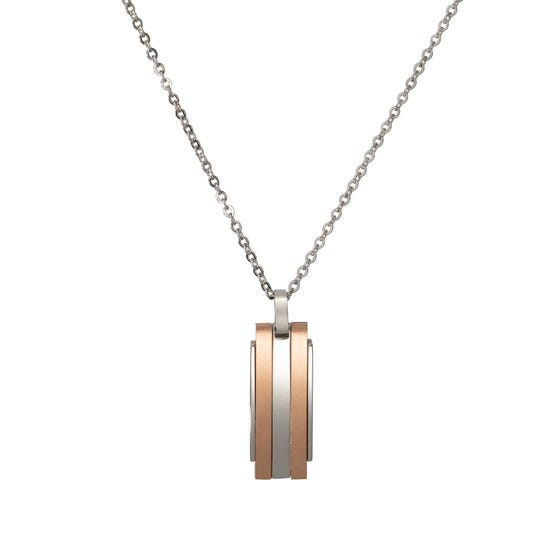 Stainless Steel Striped Necklace with Rose Gold Plating