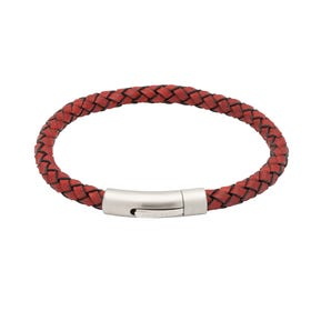 Antique Red Leather Bracelet with Matte Steel Clasp