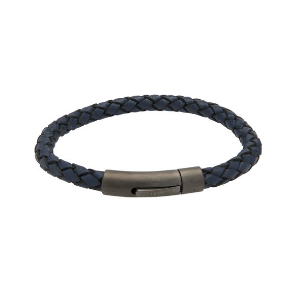 Blue Leather Bracelet with Matte Gunmetal Steel Clasp