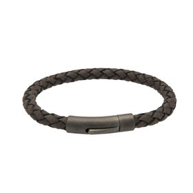 Morrocan Brown Leather Bracelet with Matte Gunmetal Steel Clasp