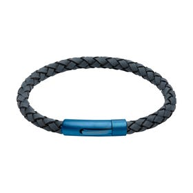 Antique Blue Leather Bracelet with Matte Blue Steel Clasp