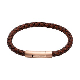 Antique Dark Brown Leather Bracelet with Matte Rose Plated Clasp