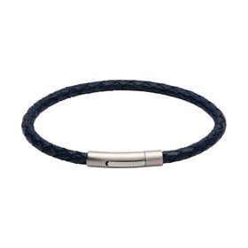Slim Blue Leather Bracelet with Matte & Polished Steel Clasp