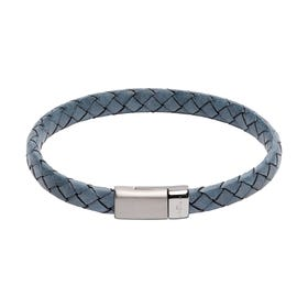 Antique Blue Leather Bracelet with Matte & Polished Steel Clasp