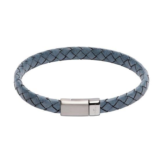Antique Blue Leather Bracelet with Matte & Polished Steel Clasp