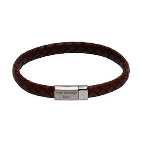 Antique Dark Brown Leather Bracelet with Matte & Polished Steel Clasp
