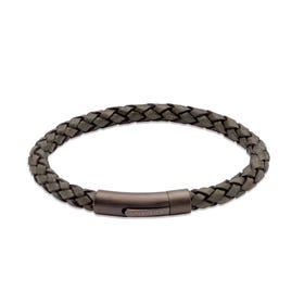 Dark Green Leather Bracelet with Matte Gunmetal Steel Clasp