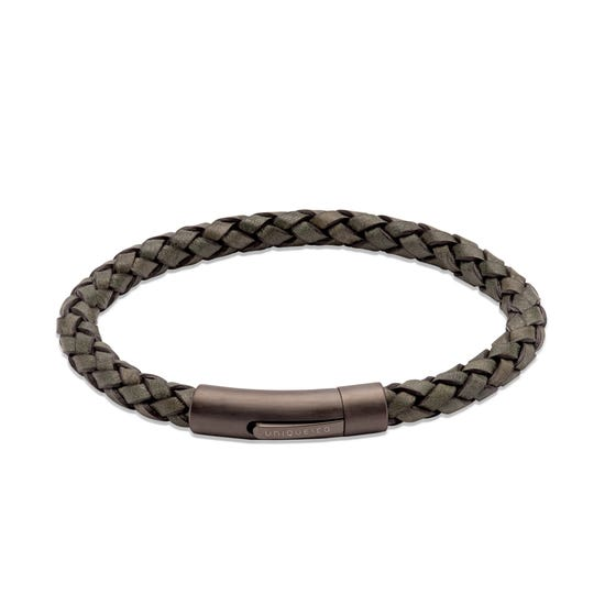 Dark Green Leather Bracelet with Matte Gunmetal Steel Clasp