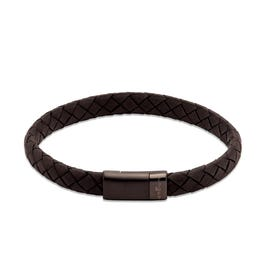 Black Leather Bracelet with Black Magnetic Steel Clasp