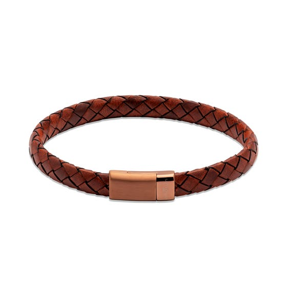Lido Cognac Leather Bracelet with Brown Magnetic Steel Clasp