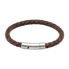 Coconut Leather Bracelet with Matte & Polished Steel Clasp