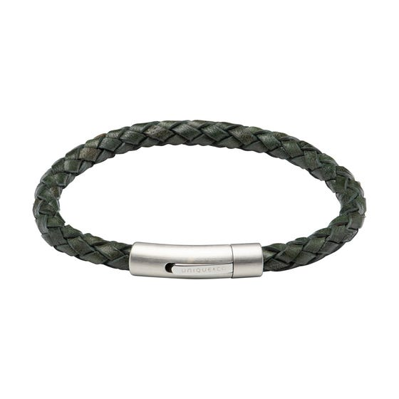 Dark Green Leather Bracelet with Matte & Polished Steel Clasp