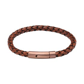 Lido Cognac Leather Bracelet with Matte Brown Steel Clasp