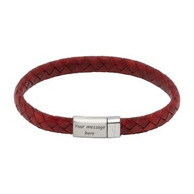 Antique Red Leather Bracelet with Steel Magnetic Clasp