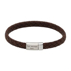 Dark Brown Leather Bracelet with Steel Magnetic Clasp