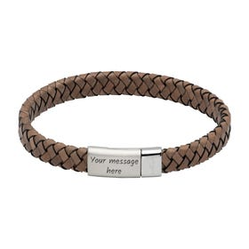 Antique Grey Leather Bracelet with Steel Magnetic Clasp