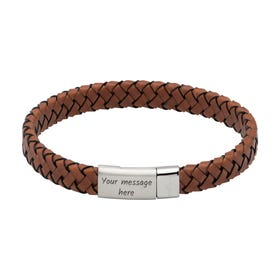 Dark Brown Woven Leather Bracelet with Steel Magnetic Clasp