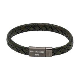 Dark Green Leather Bracelet with Gunmetal Steel Magnetic Clasp