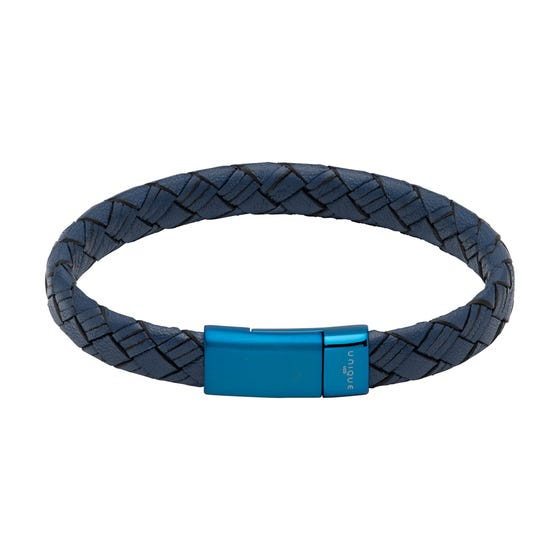 Navy Leather Bracelet with Blue Steel Magnetic Clasp