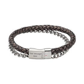 Antique Black Leather Bracelet with Steel Chain & Magnetic Clasp