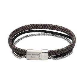Antique Black Double Leather Chain Bracelet with Magnetic Clasp