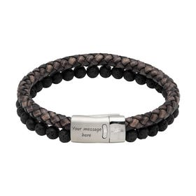 Antique Black Leather Bracelet with Lava Stone & Magnetic Clasp
