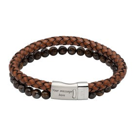 Antique Dark Brown Leather Bracelet with Tiger Eye & Magnetic Clasp