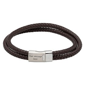 Dark Brown Double Leather Bracelet with Steel Magnetic Clasp