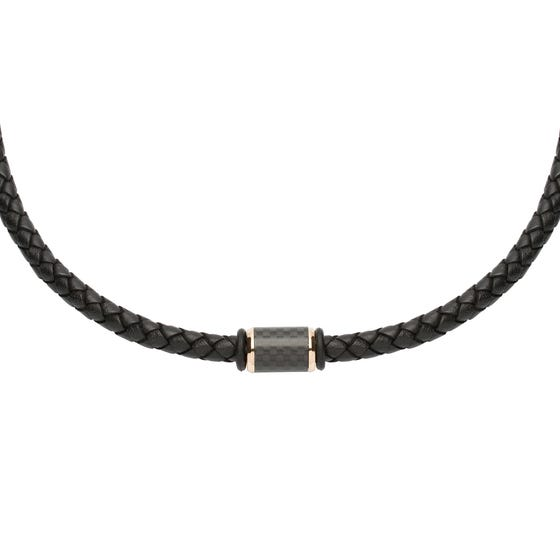 Black Leather Necklace With Carbon Fibre Element & Rose Plating