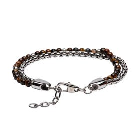 Stainless Steel Double Bracelet with Brown Tiger Eye Beads