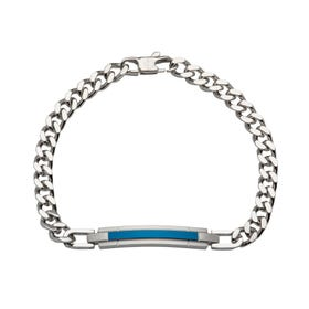 Stainless Steel Matte & Polished Bar Bracelet with Blue Plating