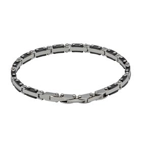 Stainless Steel Link Chain Bracelet with Black Plating