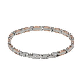 Stainless Steel Link Chain Bracelet with Rose Gold Plating
