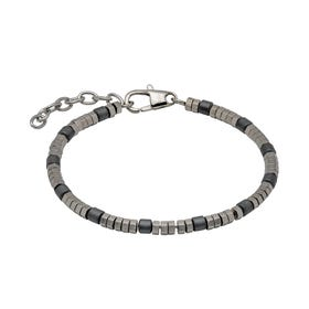 Stainless Steel Bracelet with Grey Hematite