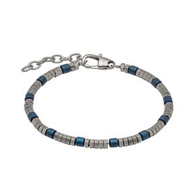 Stainless Steel Bracelet with Blue Hematite