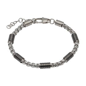 Stainless Steel Link Bracelet with Black Plating