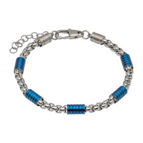 Stainless Steel Link Bracelet with Blue Plating