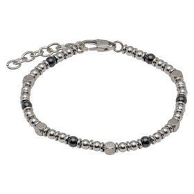 Stainless Steel Bead Bracelet with Onyx