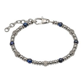 Stainless Steel Bead Bracelet with Blue Tiger Eye