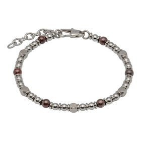 Stainless Steel Bead Bracelet with Red Tiger Eye